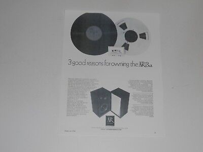 Acoustic Research AR-3a Speaker Ad, 1 Page, 1974, Article and Info