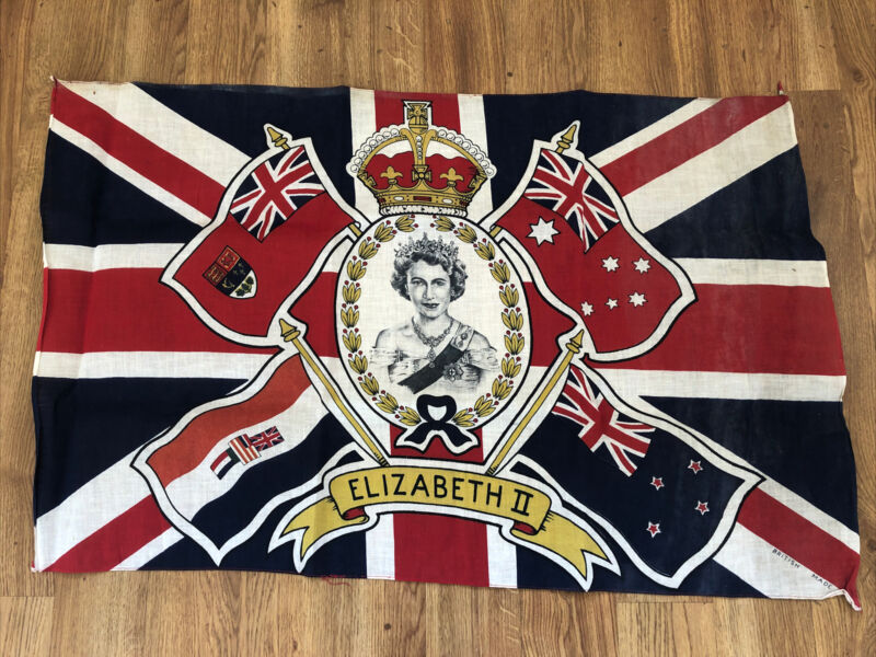 Vintage Printed Union Jack Flag British Made Queen Elizabeth II Coronation 1953