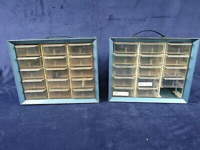 2 Vtg Akro Mils 15 Drawer Blue Metal Cabinet Storage Wall Organizer 10 X 8