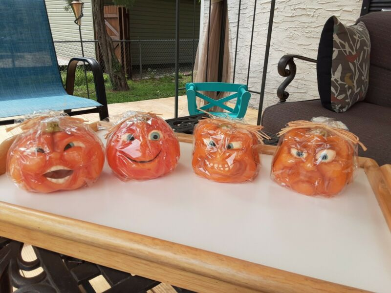 4 VINTAGE HALLOWEEN CANDLES NEW SEALED ANTHROPOMORPHIC FACE PUMPKINS CREEPY