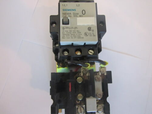 Siemens SSL BO Nema Size 0 Contactor 18 Amp 2 Pole with Overload Relay SA 11A