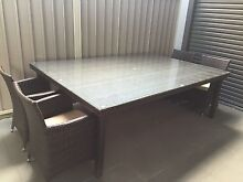 Glass Top 10 Seater Wicker Outdoor Dining Table Bexley North Rockdale Area Preview