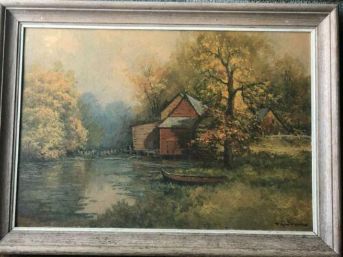 Vintage Oil on Board Wood Framed Signed Robert Wood 22 x 30 Fishing Creek