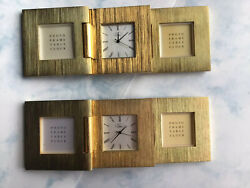CHASS DESK CLOCK POLISHED BRASS GOLD LOOK BEAUTIFUL PHOTO FRAME TABLE CLOCK
