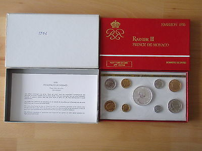 Monaco 1976 KMS ST Rainier III mit 50 Francs Regierungsjubiläum Silber FDC