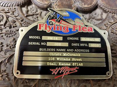 Flying Flea 1930s deep acid etched brass data plate CUSTOM Made 4 You