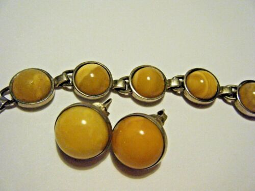 Vintage 1980s Sterling Silver and Butterscotch Amber Earrings and Bracelet Set