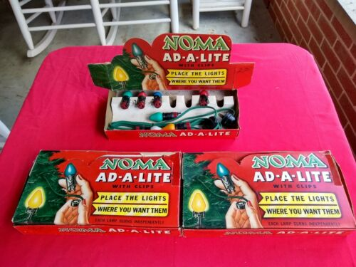 3 sets 1950s Noma Ad-A-Lite Christmas Lights in Original Boxes