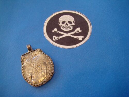 Genuine 1641 Spanish shipwreck coin CONCEPCION 8 reales made to silver pendant!