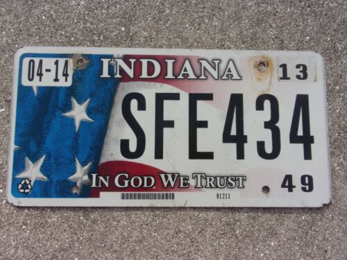 Indiana 2013 In God We Trust license plate  #  SFE 434