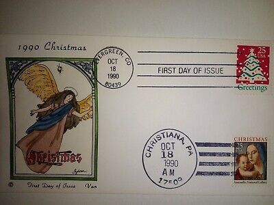 VAN NATTA 1990 CHRISTMAS MARY & CHRIST CHILD HAND PAINTED HP FIRST DAY COVER FDC ()