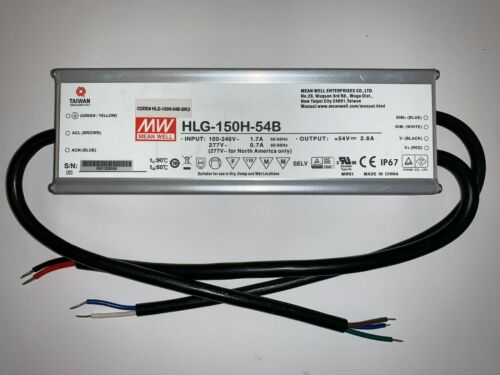 Mean Well HLG-150H-54B LED Driver Power Supply Dimmable IP67 PFC 2800mA 90-305V