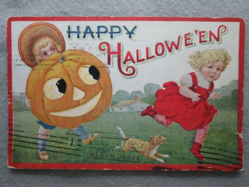 Antique Happy Halloween Postcard Boy With Jack O Lantern And Dog Chasing Girl