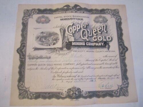 1923 COPPER QUEEN GOLD MINING COMPANY STOCK CERTIFICATE - ZZZ