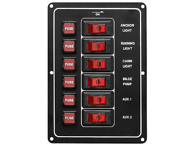Marine 6 Gang Rocker Switch 12V Aluminum Panel with fuses for Boat - Five Oceans