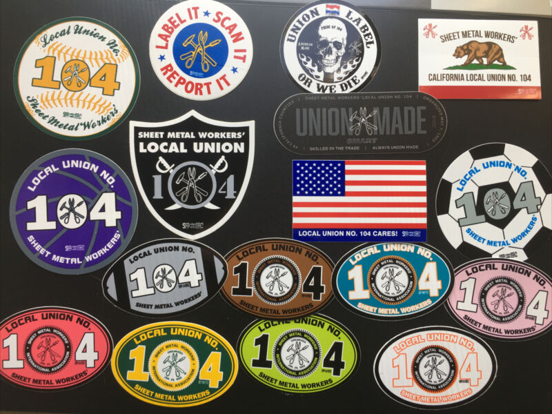 SMART Union Local 104 Stickers Tin Knocker Sheet Metal Workers Lot Of 17!