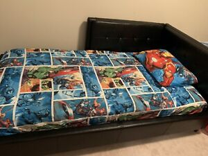 Single bed, mattress and Marvel Comic sheet set/blanket