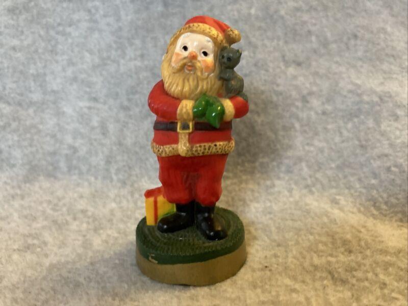Vintage Hallmark Merry Miniatures #4 Santa with Kitten 1976 EUC