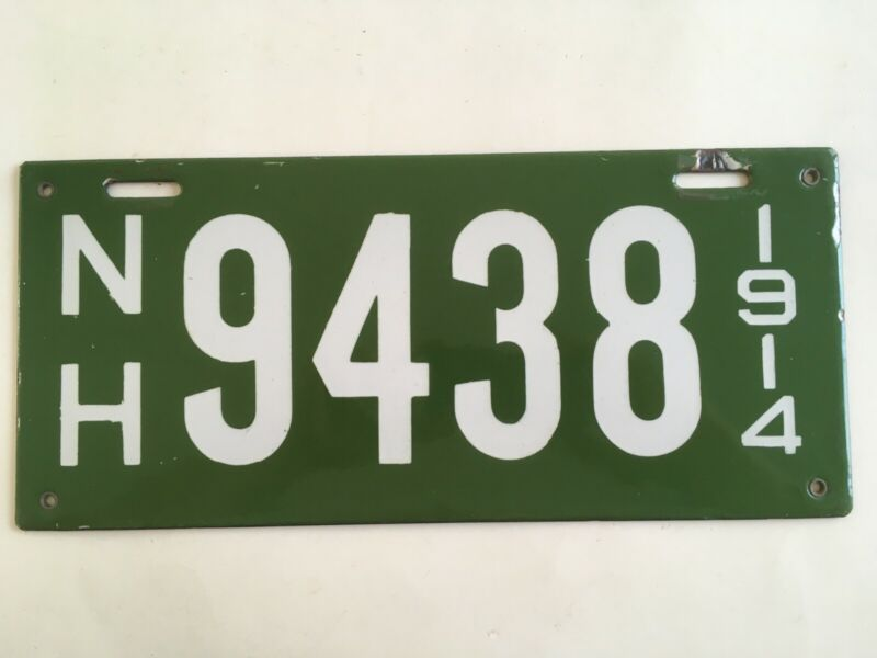 "1914 New Hampshire Porcelain License Plate All Original ""VERY GOOD PLUS"" Nice!!"