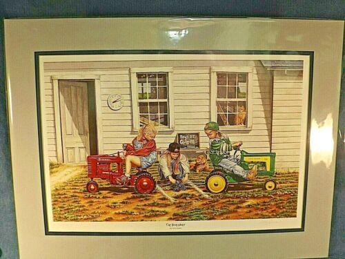 DEERE & FARMALL PEDAL TRACTOR PRINT -TIE BREAKER by TERRY DOWNS - DBL MAT LTD ED