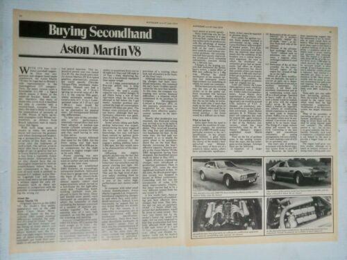 ASTON MARTIN DBS V8/V8 1970-73 3 PAGE BRITISH MAGAZINE BUYING SECONDHAND GUIDE