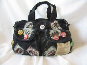 Obsessed Boardriders Bag Black Grey Red Distressed Bottle Tops Festival Handbag