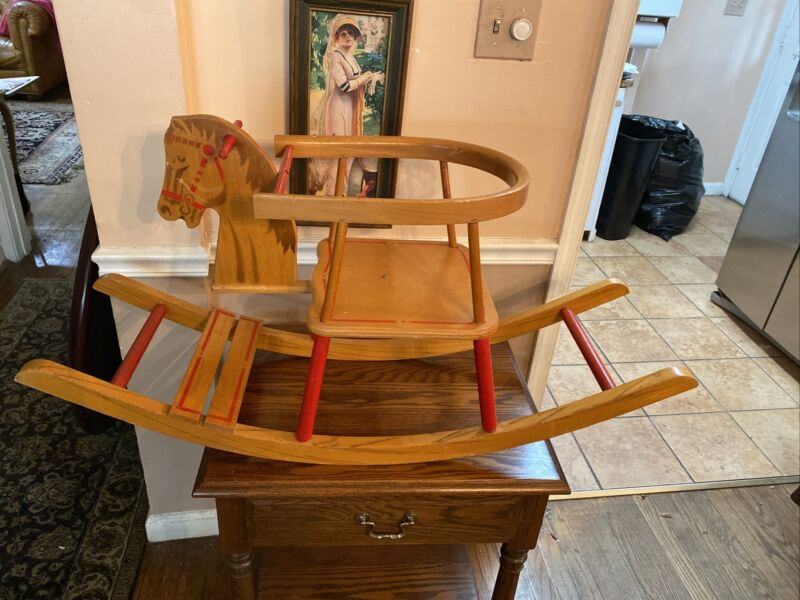 Old Vintage Maple Child's Rocking Horse Chair. Great Condition, Free Shipping