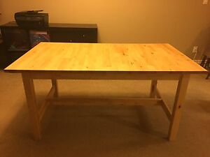 Ikea expandable dining table, leaf stored inside