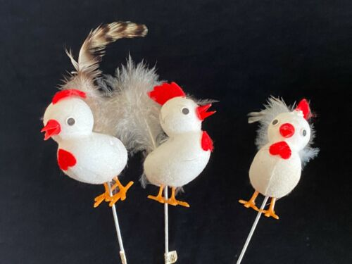 3 Vintage JAPAN Paper Felt Styrofoam Cute Rooster Chicken Picks Real Feathers