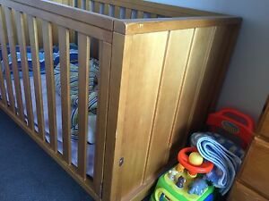 Boori 3 in 1 timber cot with solid ends Kingston Kingborough Area Preview