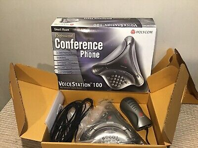 Polycom Voicestation 100 Conference Phone W Wall Module Cords In Original Box
