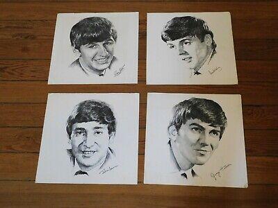 4 VINTAGE BEATLES PRINT POSTERS 12 x 12 John Lennon Paul McCartney George