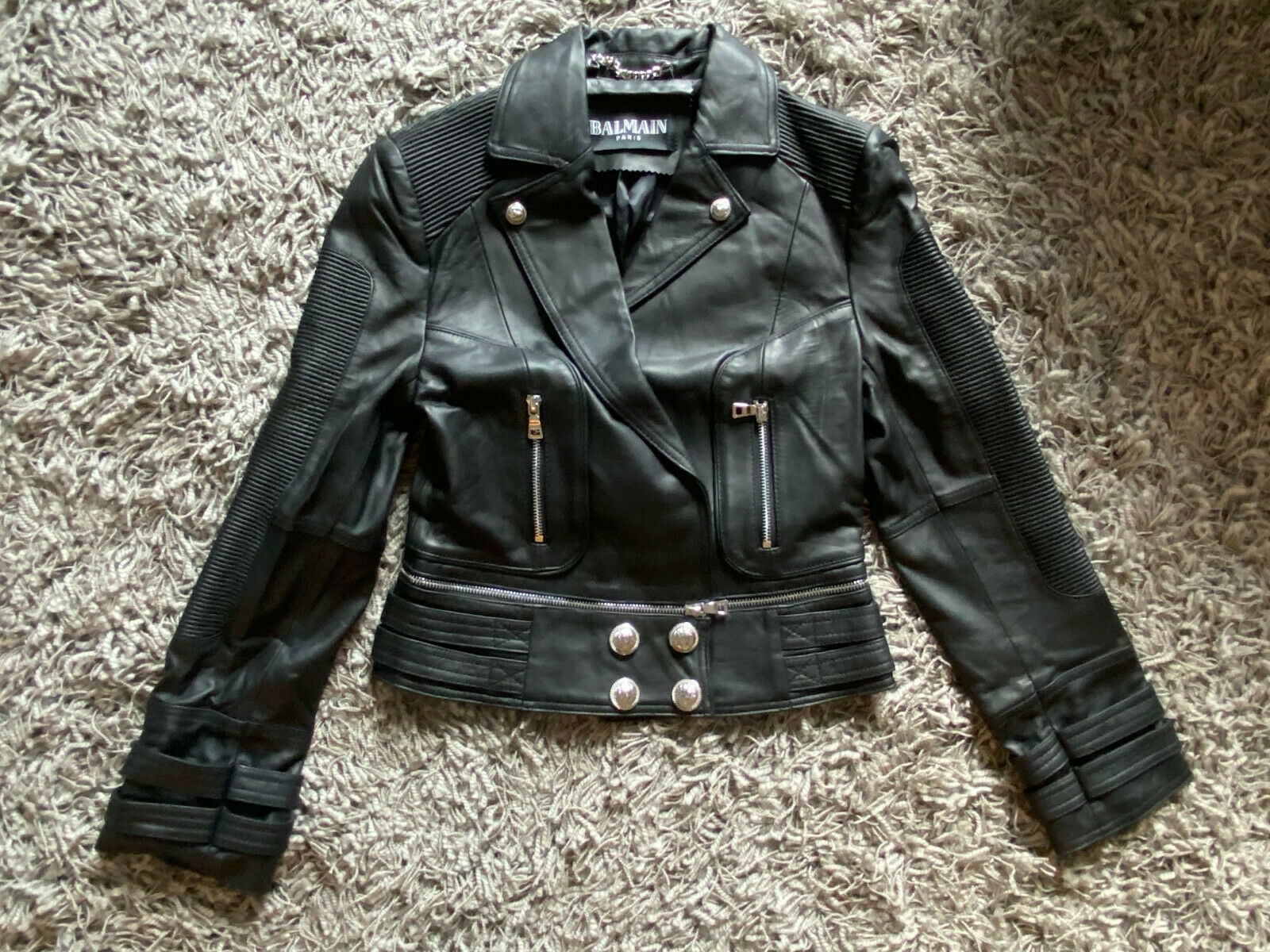 Balmain Womens Black Sheepskin Leather Jacket Top with Crest at back small