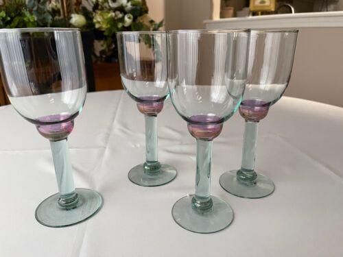 "Four (4) Art Glass Wine Glasses Iridescent Purple Ball Green Stems 8 3/8"""