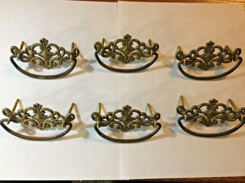 6 ANTIQUE AAB CO ORNATE VICTORIAN BRASS DRAWER PULLS HARDWARE