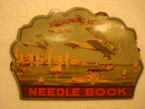 Vintage Needle Book American Biplane Aircraft Cruise liner Broadway Lights