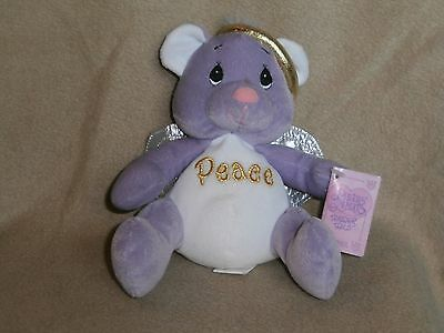 Precious Moments Tender Tails Plush Angel Bear-Lavender-PEACE-2000NWT