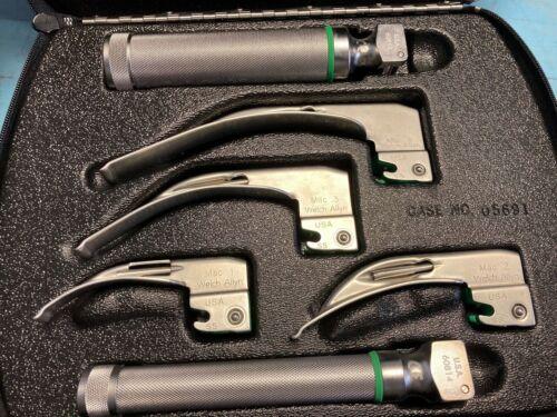 Welch Allyn Laryngoscope Set With 2 Handles, 4 Blades & Case