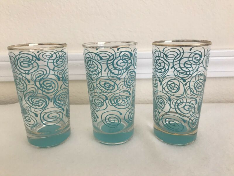 "Vintage (3) MCM Turquoise Embossed Atomic Swirl Drinking Glasses Tumblers 5"""