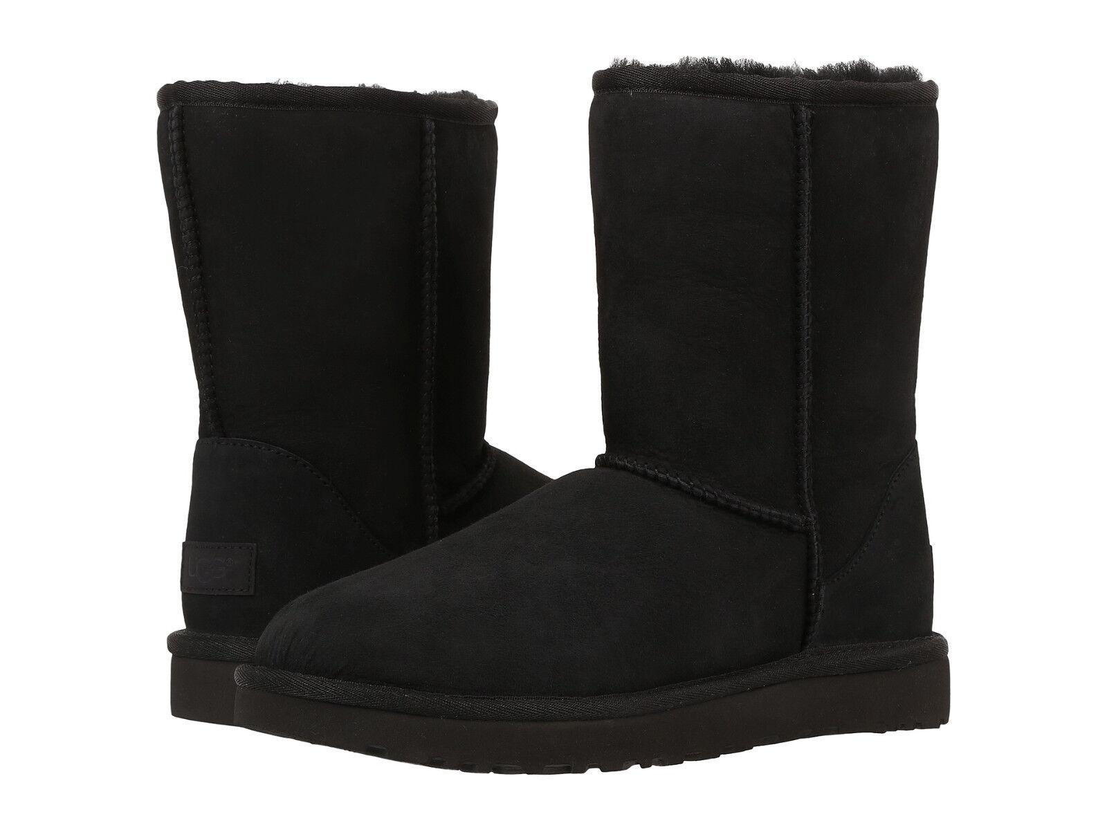 $127.92 - Women UGG Australia Classic Short II Boot 1016223 Black Twinface 100% Authentic