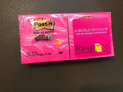 6 Pack Post-it Notes World Of Color Pop-up 3 X 3 90 Pages Pink Orange Yellow