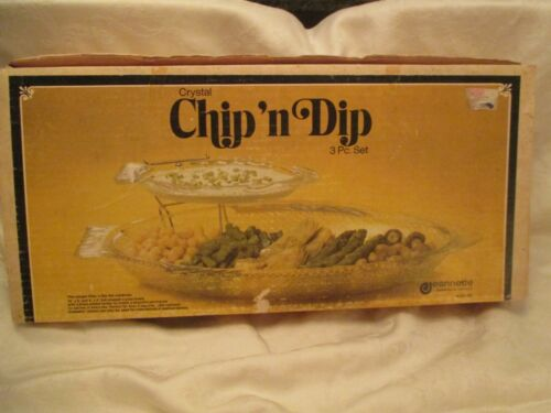 Vintage Jeannette Glasbake Fish Chip N Dip Set In Box VGC 4141-3C