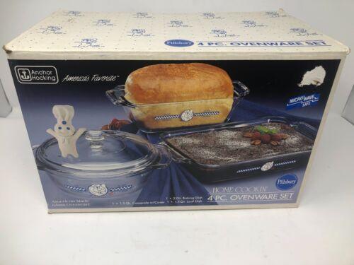 Anchor Hocking  Pillsbury Dough Boy 4 pc bakeware set Loaf, Baking Casserole