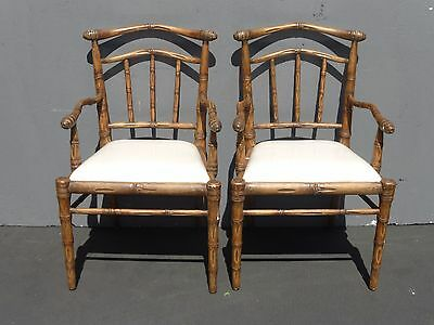 PAIR Tiki Palm Beach Style Bamboo Side Accent Arm Chairs