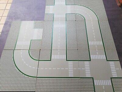 Lot de 8 plaques routières route LEGO City droite, intersection, courbe 25 X 25