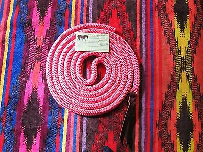 14' Rose Lodge PINK DB Yacht Rope Tie on Horse Lead or Mecate Reins Custom USA