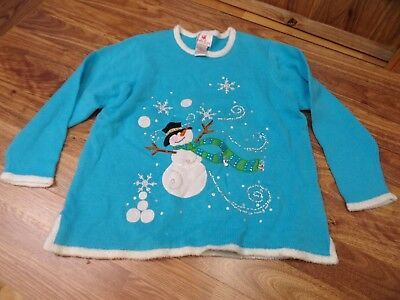 QUACKER FACTORY Ugly Christmas Holiday Sweater SNOWMAN ~ Light Up ~ Womens 1X](Womens Ugly Christmas Sweater)