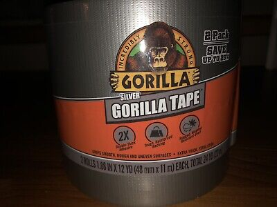 Silver Gorilla Duct Tape 1.88 X 12 Yd Silver 2 Pack 24 Yd Total Extra Thick