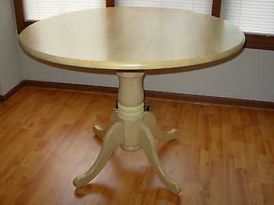 "40"" Round Kitchen Dining Table Single Pedestal Set FINISHED REAL SOLID HARD WOOD"