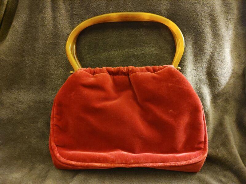 Vintage Morris Moskowitz Handbag/Purse Red Velvet With Amber Lucite Handles